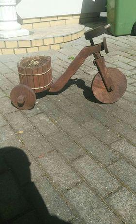 Ozdoba ogrodowa , rowerek drewniany