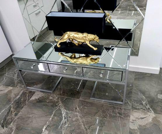 Ekskluzywna komoda stolik rtv szklana srebrna z szufladami kryształki