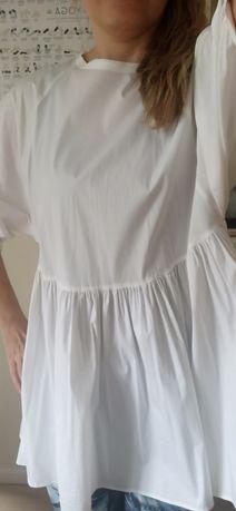 Jak nowa biała koszula Zara Woman M L klasyczna etno oversize