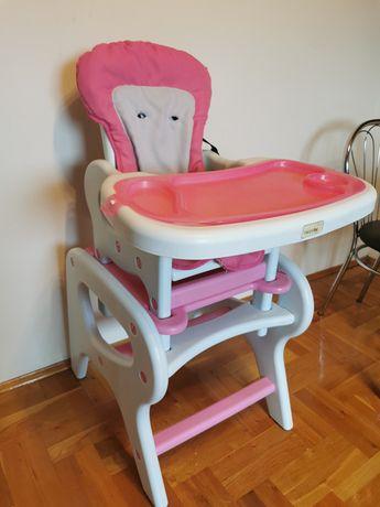 Fotelik krzesełko do karmienia 3in1 różowy