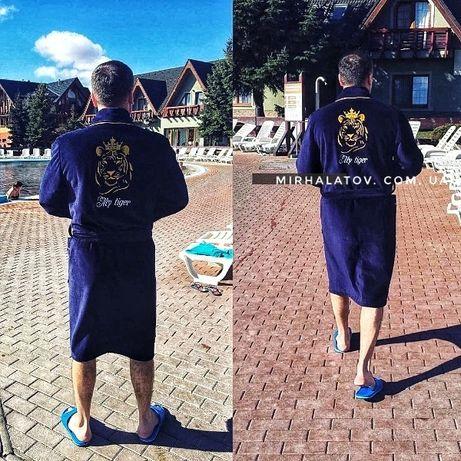 Именные мужские махровые халаты с вышивкой