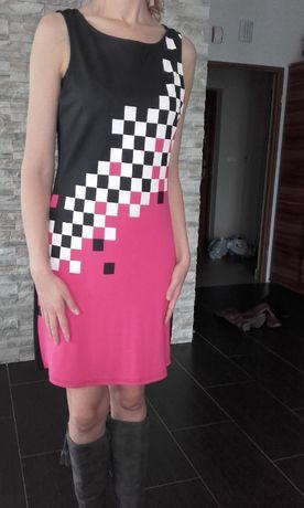 Sukienka rozowo-czarna szachownica/kratka rozm. 40/42