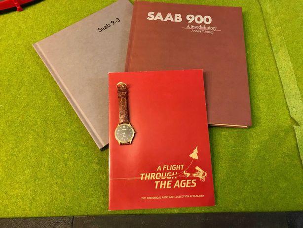 Livros da História SAAB (900 e 9-3) e Relógio Quartzo SAAB