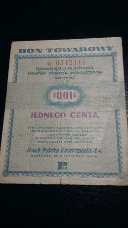 Bon Towarowy 0,01 $ z 1960
