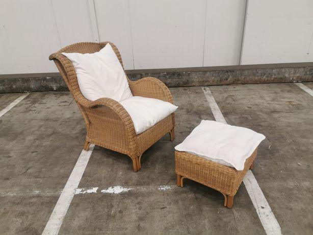 Fotel rattanowy  z podnóżkiem