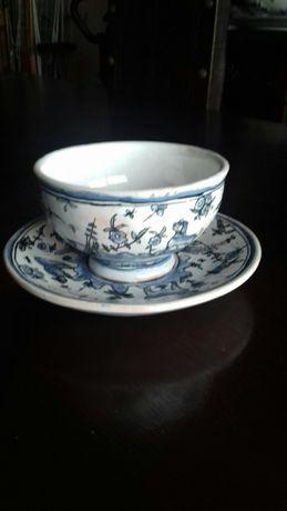 Conjunto de prato e taça de loiça de Conimbriga, pintado à mão