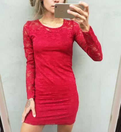 Koronkowa czerwona sukienka jak nowa okazja XS/S