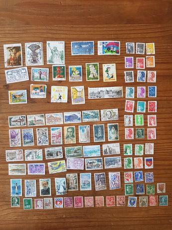 100 selos França todos diferentes