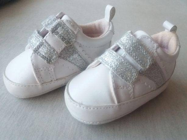 Buciki dziewczęce sportowe białe, primark 9-12 miesięcy