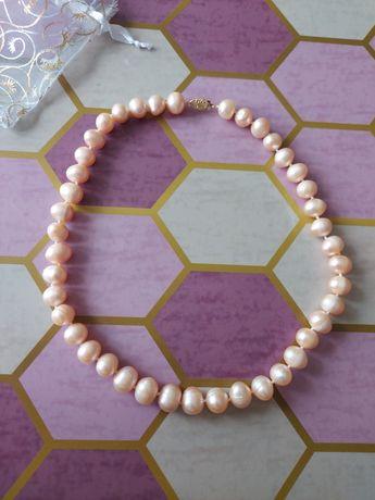 Nowe perly naturalne 44cm 11m hodowlane rózowe naszyjnik korale namiko