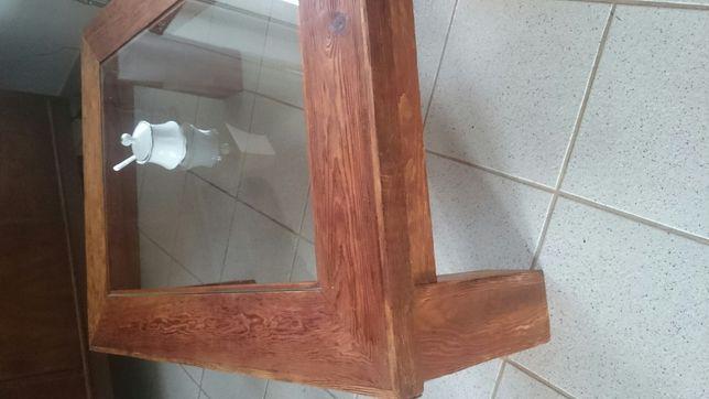 Ława z szybą. drewniana stolik z drewna eko, olejowany.