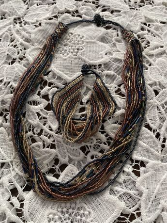 Handmade naszyjnik bransoletka z koralików komplet