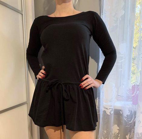 Bawelniana czarna sukienka dresowa