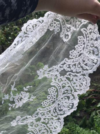 Фата свадебная длинная с кружевом 3 метра