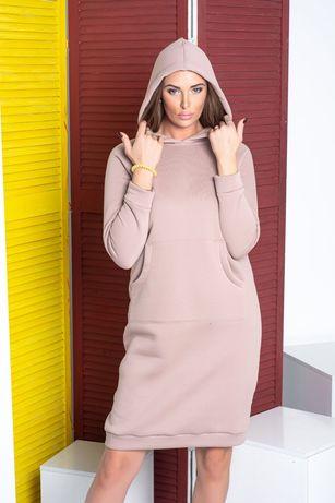 Теплое женское платье худи