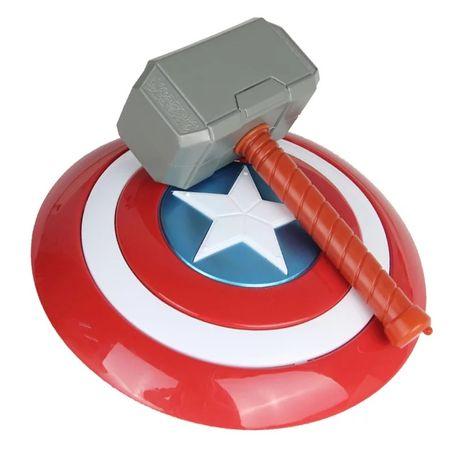 Escudo Capitão América e martelo Thor