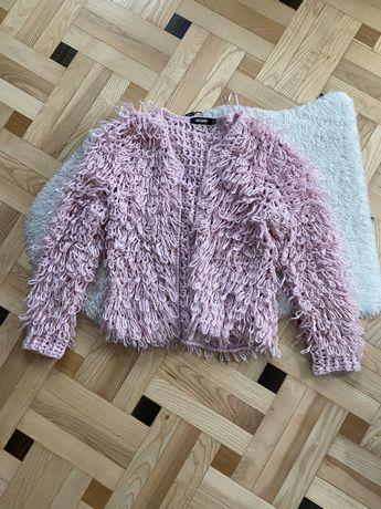 sweter sweterek Missguided różowy pudrowy róż pink włochaty krótki M/L