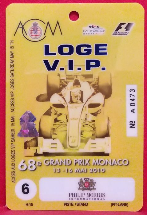 Formuła 1 VIP pass / 68 Grand Prix de Monaco 2010 Bielsko-Biała - image 1