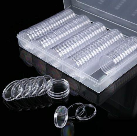 Капсулы для монет 30 мм (100 шт) в пластиковом боксе