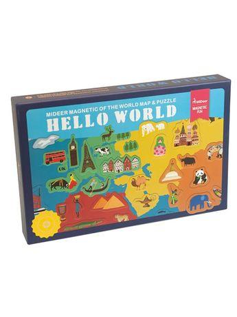 "Магнитная карта мира паззл ""Привет, мир"" MiDeer"