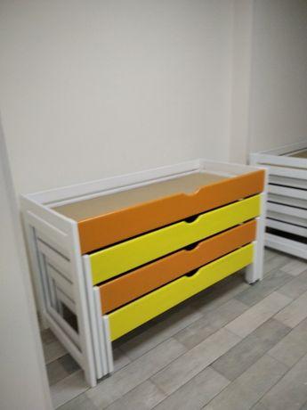 детская деревянная 3х ярусная раздвижная кровать