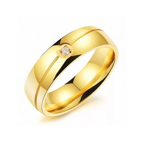 Niebanalna Złota Obrączka Ślubna Cyrkonia Wysoki Połysk