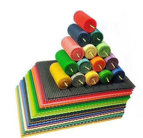 Набор цветная вощина кольорова для свечей творчества 20 листов 13х10см