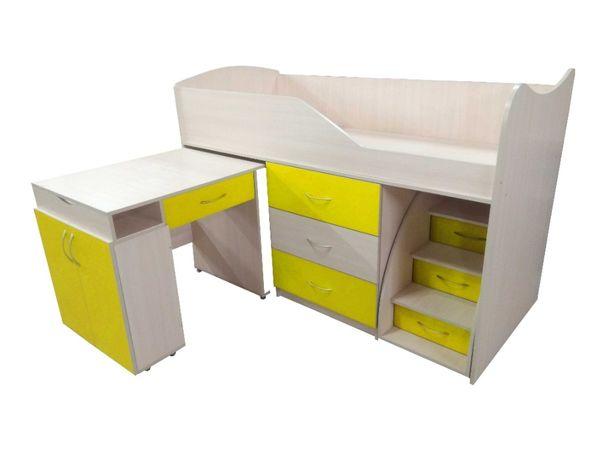 Сучасне невисоке ліжко-горище зі столом та комодом Бедрум-5