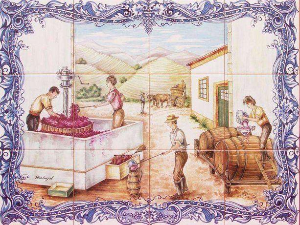Painel Azulejos PIPAS de Vinho Uvas Cave Adega Cascos Barris Desenho
