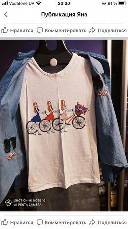 Джинсовая рубашка с футболкой 2 в 1