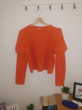 Zara sweterek/bluza roz M piękny pomarańczowy bufki