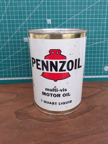 Lata de óleo americana selada. Pennzoil 1 quarter gallon e outras lata