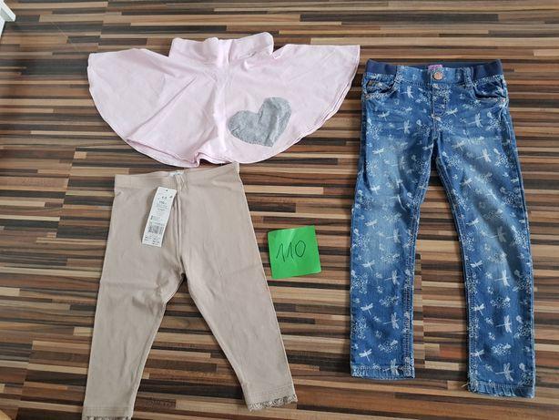 Zestaw ciuchów 110 cm spodnie, spódnica, legginsy