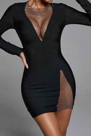Sukienka mała czarna z cyrkoniami BellaBarnett r.S