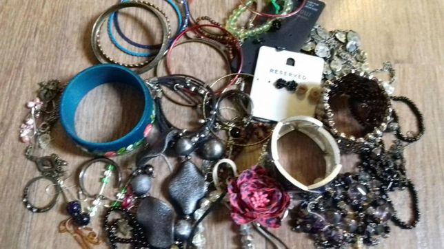 Biżuteria zestaw kolczyki bransoletki lancuszki