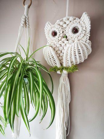 Sowa makrama dekoracja handmade