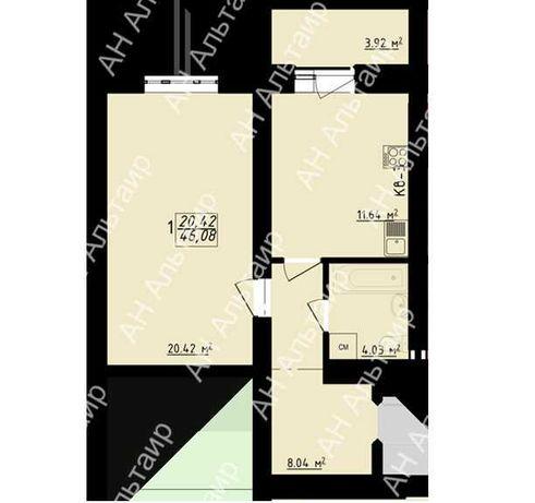 ЖК Левада - 2 Продам 1 ком квартиру 46 м² пр. Гагарина, ЦЕНТР F