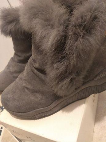 Buty zimowe ,szare z futerkiem