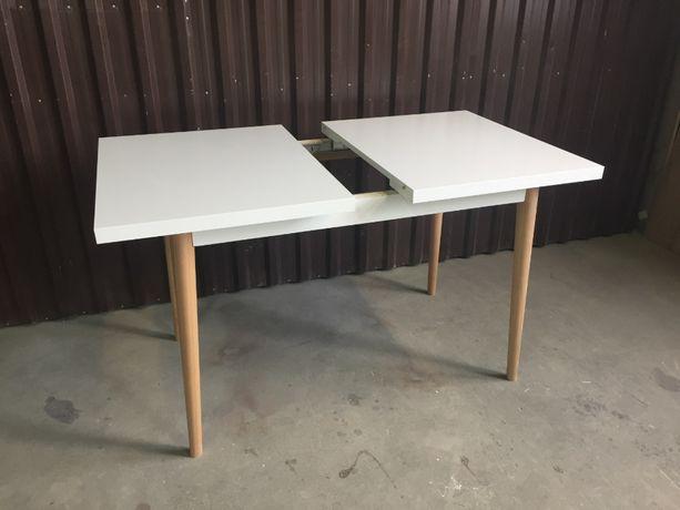 Stół rozkladany biały, nogi drewniane 120x80
