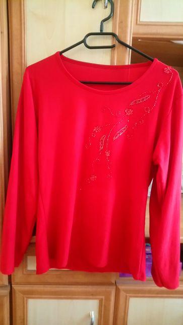Czerwona bluzka na długi rękaw ze zdobieniem L/XL