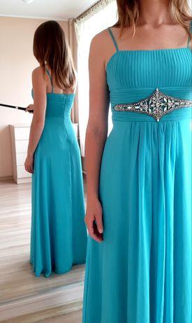 Sukienka maxi w kolorze oceanu