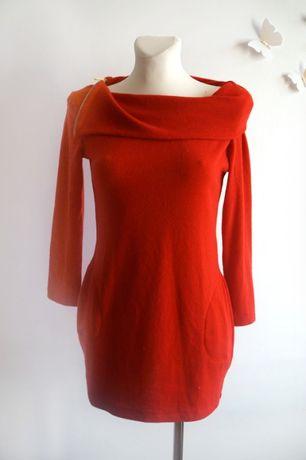 Zjawiskowy czerwony sweter tunika kieszenie S/M