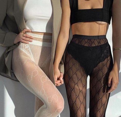 Брендовые колготки Gucci ,LV черные белые