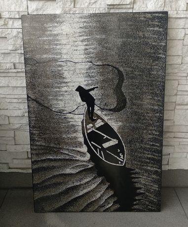 Piękny obraz Wietnam - rybak, czarny z laki
