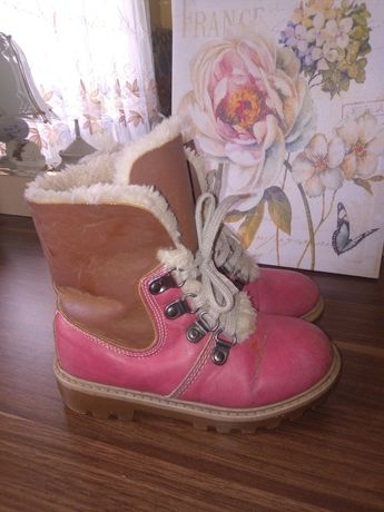 Ботинки зимние девочке, 29р. ст.18см, кожа, черевики, чоботи