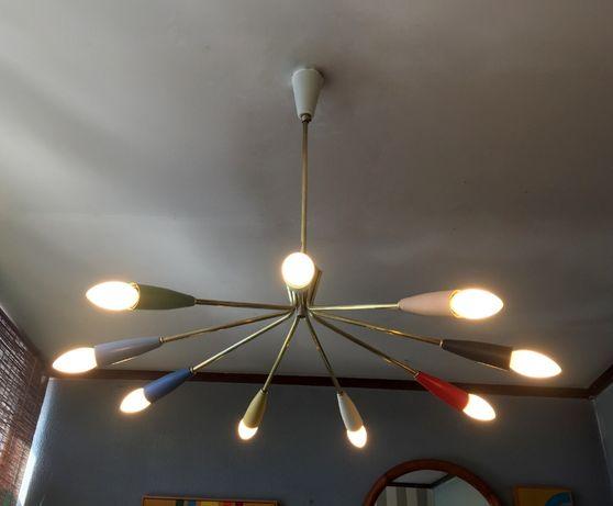 Candeeiro Spider Sputnik de 9 Lâmpadas em latão, multicolor anos 50