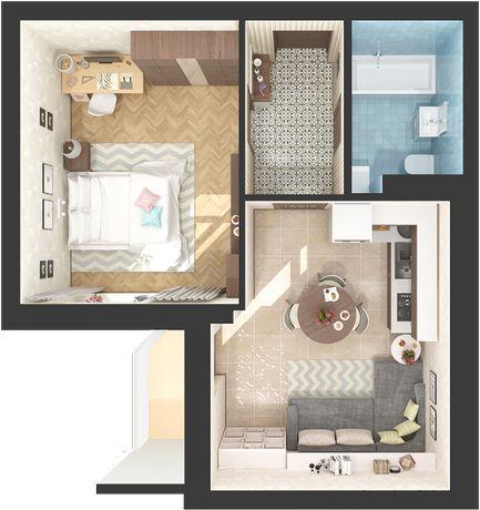 Квартира с просторной кухней, дом сдан