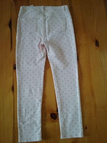 H&M ciepłe dżersejowe spodnie legginsy brokatowe gwiazdki r. 134/140