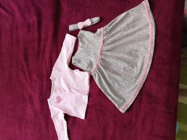 Красивый комплект тройка. Платье, болеро и повязочка 74 размер