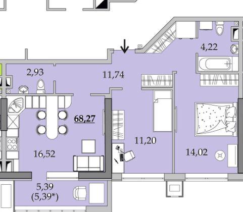 Шикарная 2 ком. квартира с просторной кухней. Новый дом на Вильямса